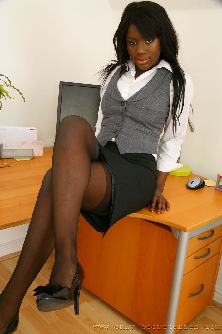 secretary pantyhose Ebony
