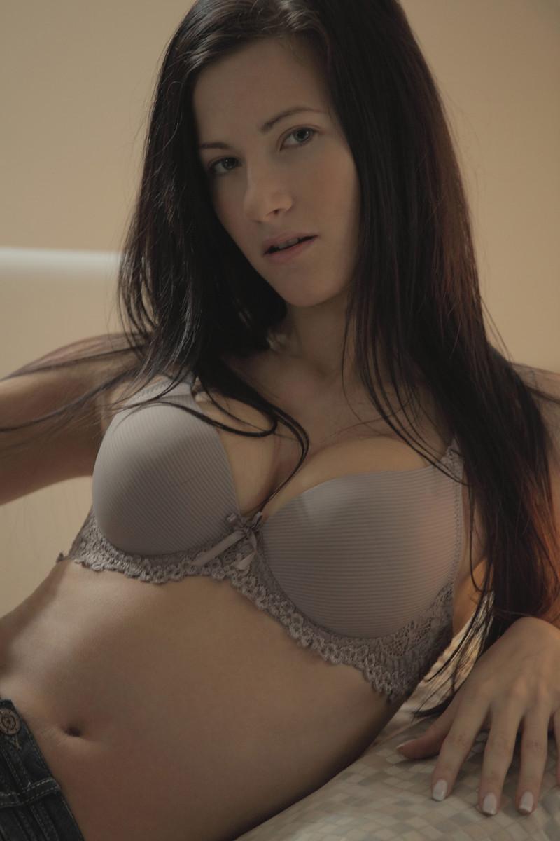 Brunette models mature lingerie