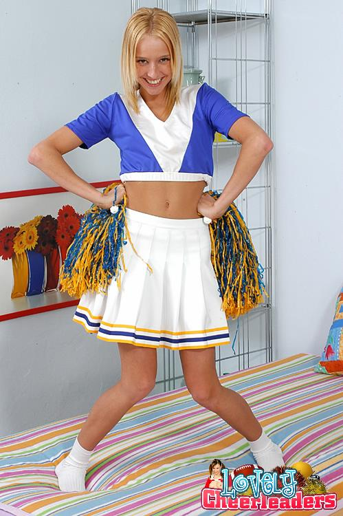 Hot brunette cheerleader with dildo — pic 12